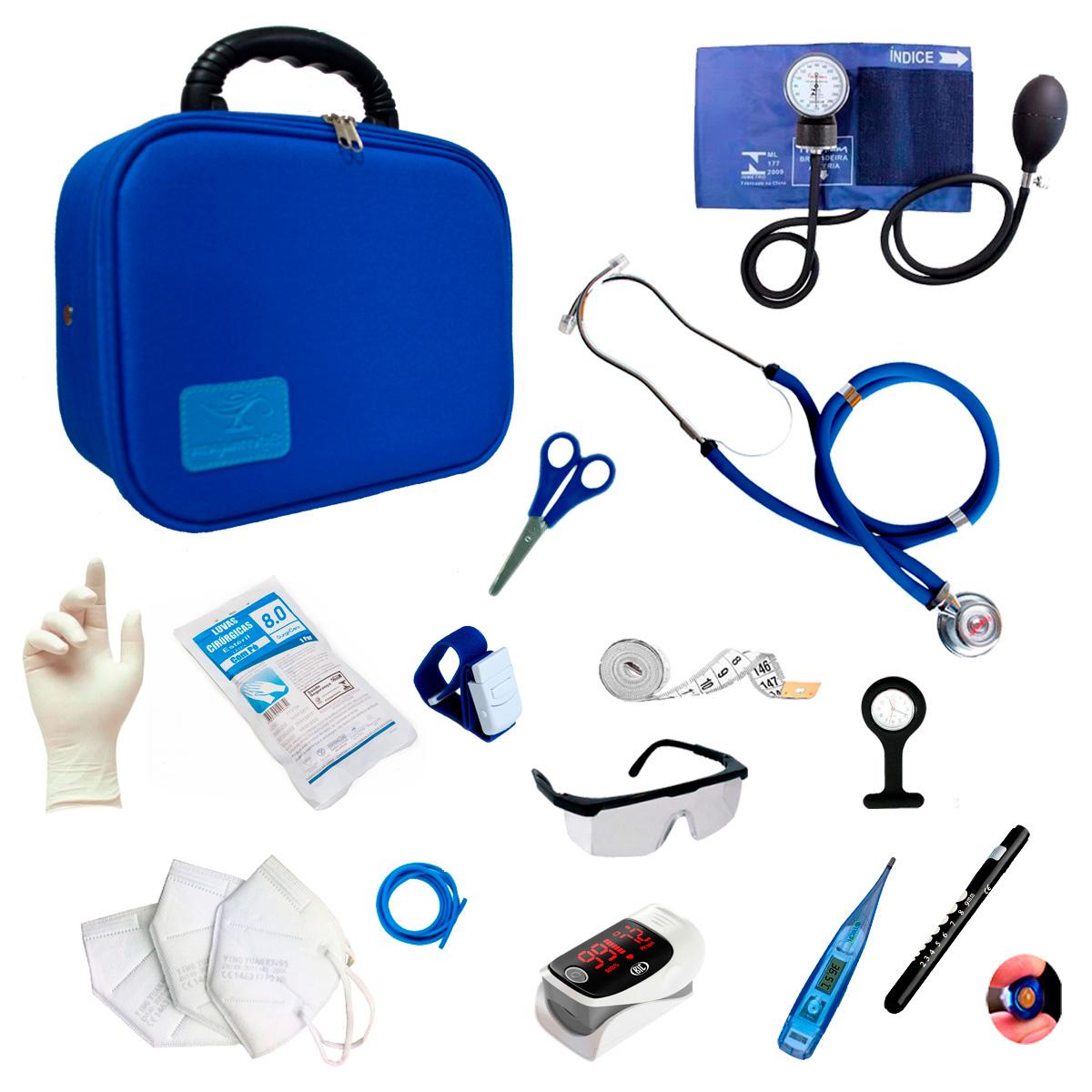 Kit Enfermagem Completo Com Oxímetro E Maleta Acadêmica Luxo Cor:Azul
