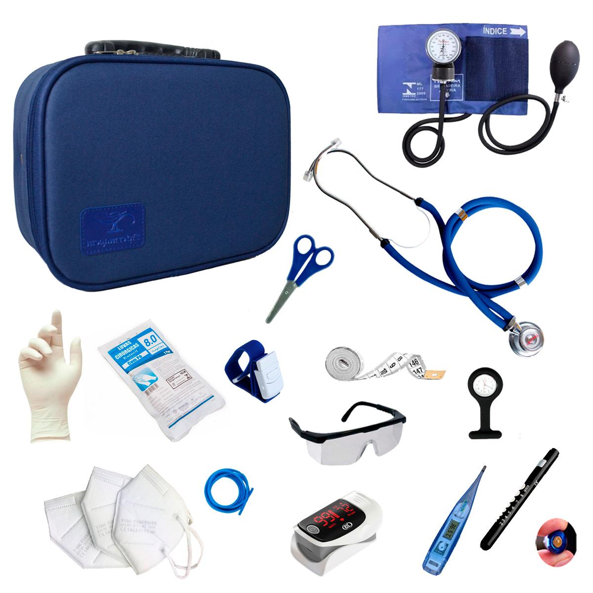 Kit Enfermagem Completo Com Oxímetro E Maleta Acadêmica Luxo Cor:Azul Marinho