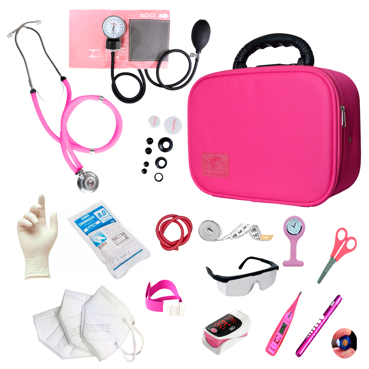 Kit Enfermagem Completo Com Oxímetro E Maleta Acadêmica Luxo Cor:Pink
