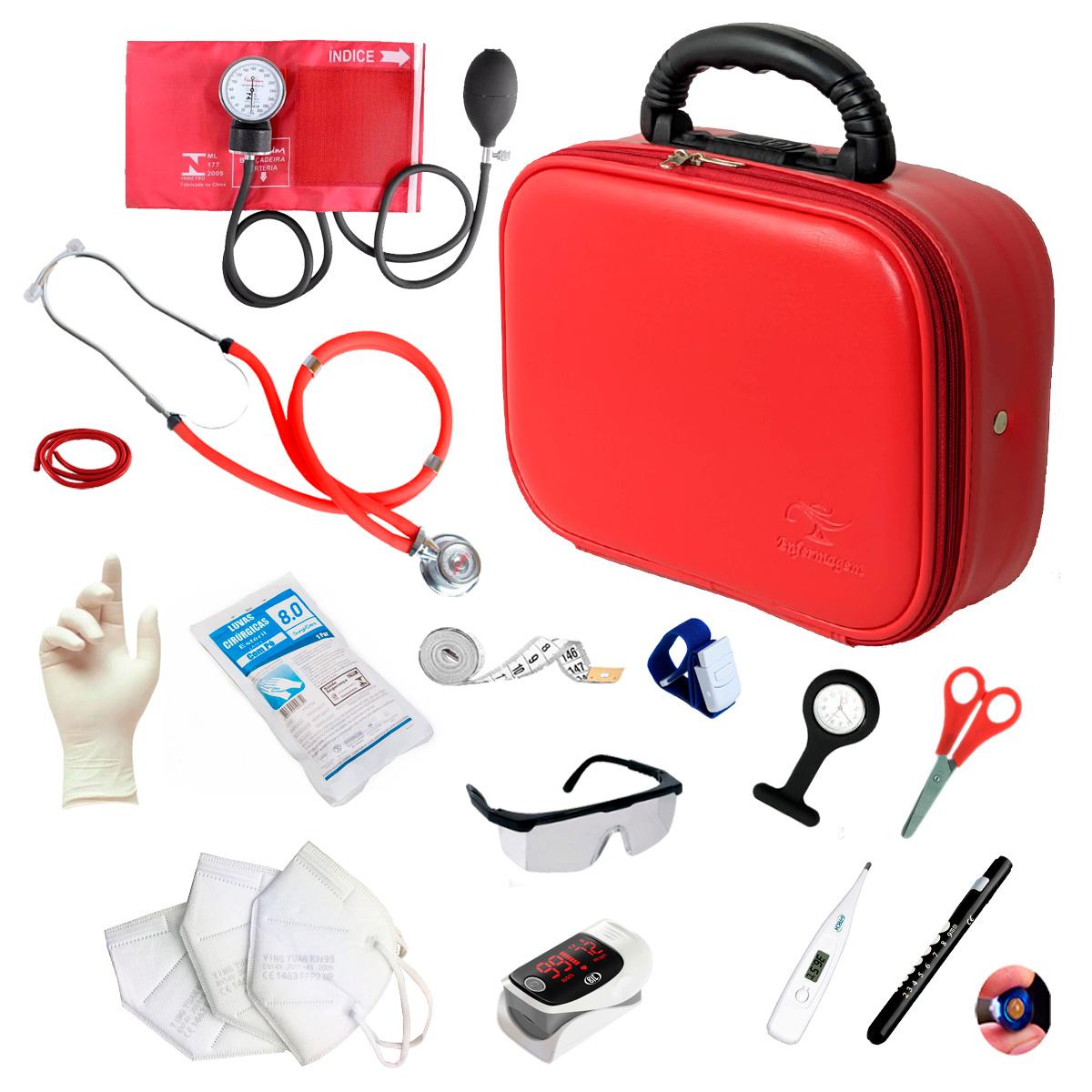 Kit Enfermagem Completo Com Oxímetro E Maleta Acadêmica Luxo Cor:Vermelho