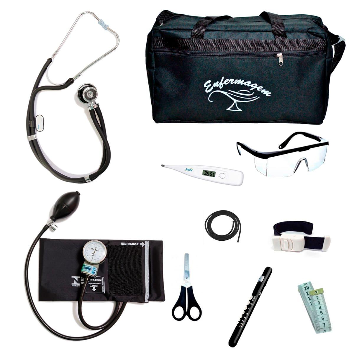 Kit Enfermagem mod.18 Aparelho de Pressão P.A.MED Cor:Preto Bolsa:Tipo 2
