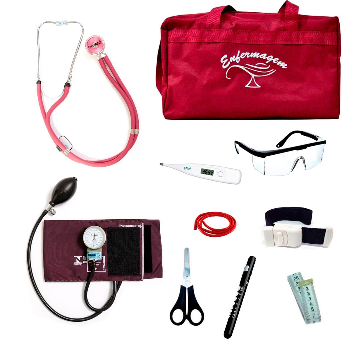 Kit Enfermagem mod.18 Aparelho de Pressão P.A.MED Cor:Vinho Bolsa:Tipo 2