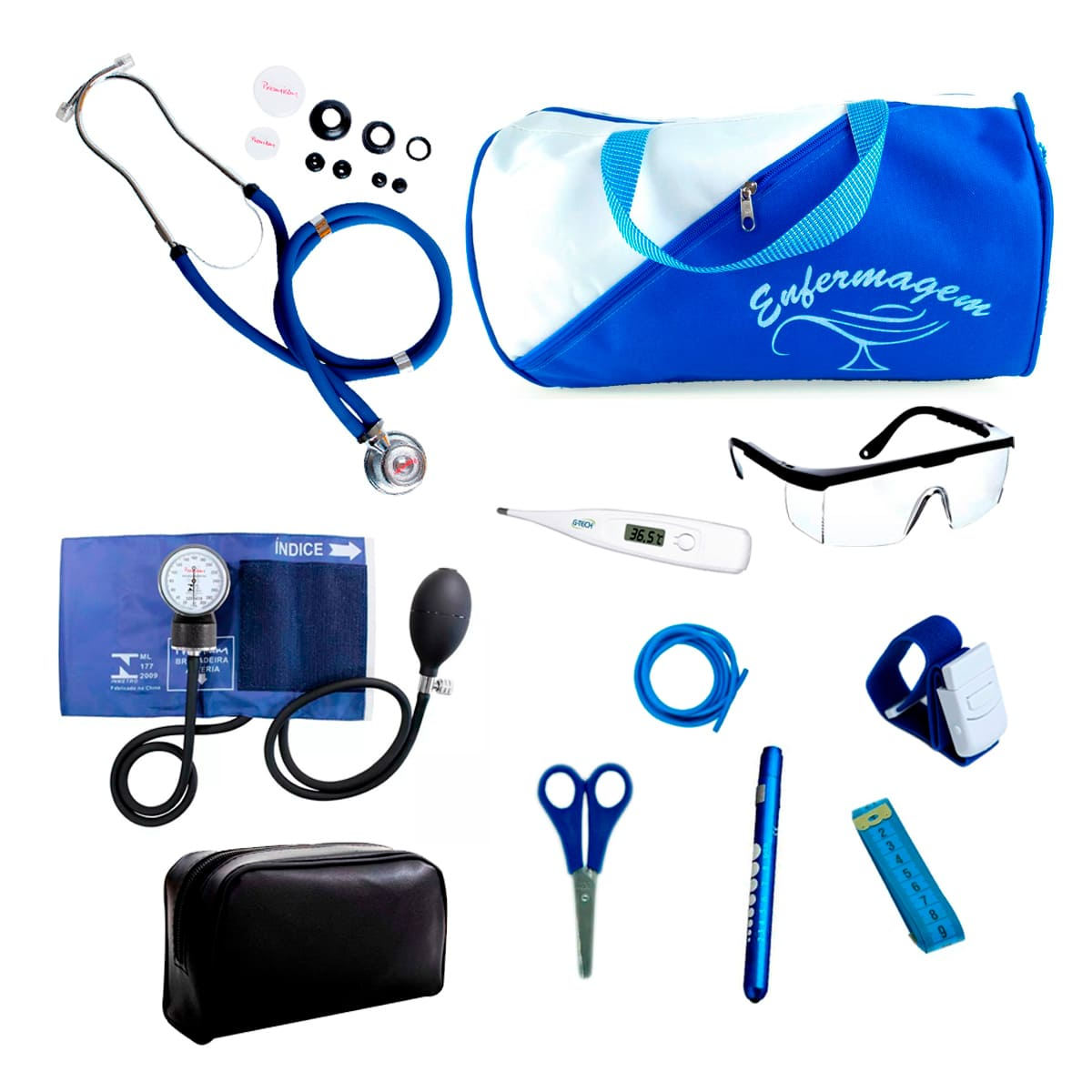 Kit Enfermagem mod.18 Aparelho de Pressão Premium Cor:Azul