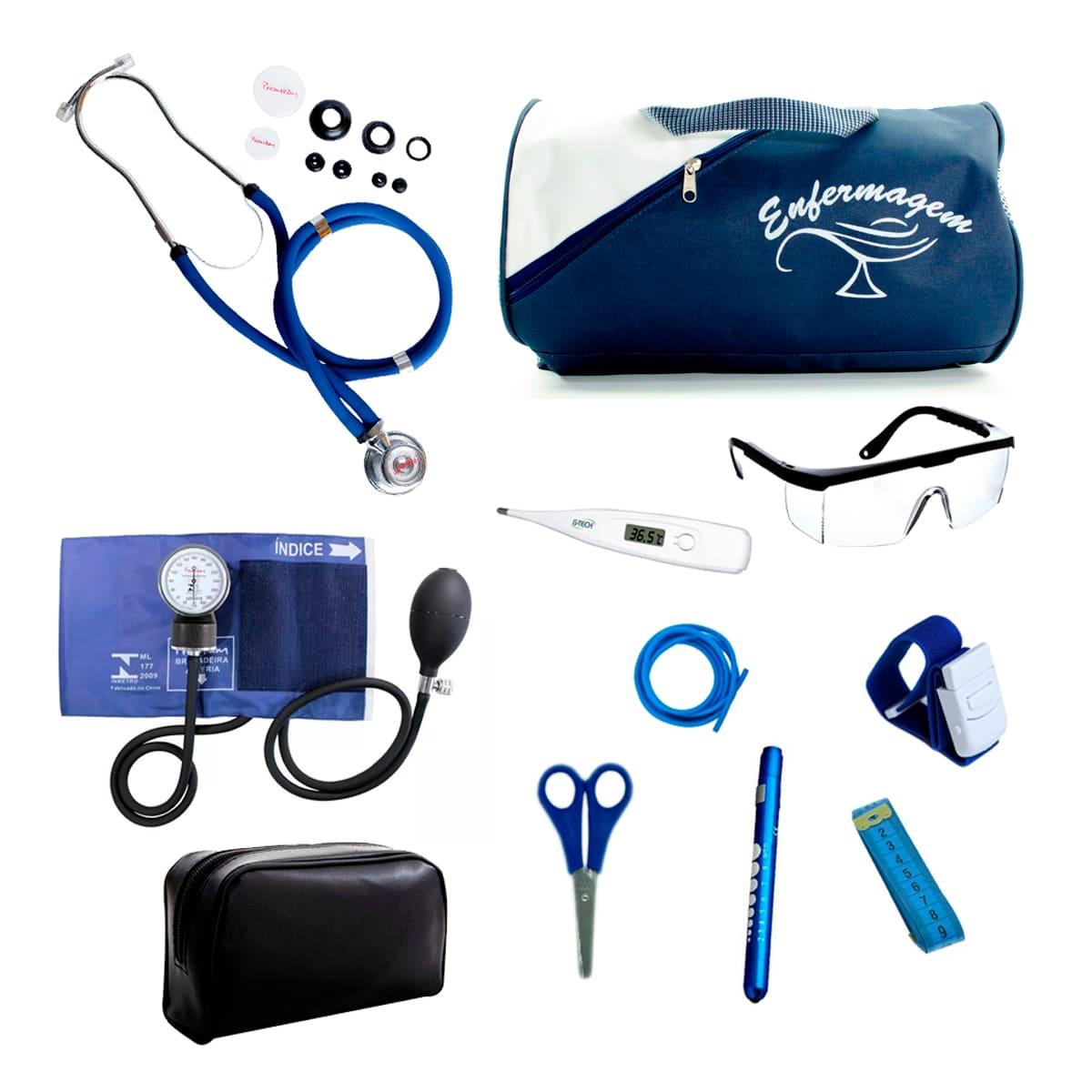 Kit Enfermagem mod.18 Aparelho de Pressão Premium Cor:Azul Marinho
