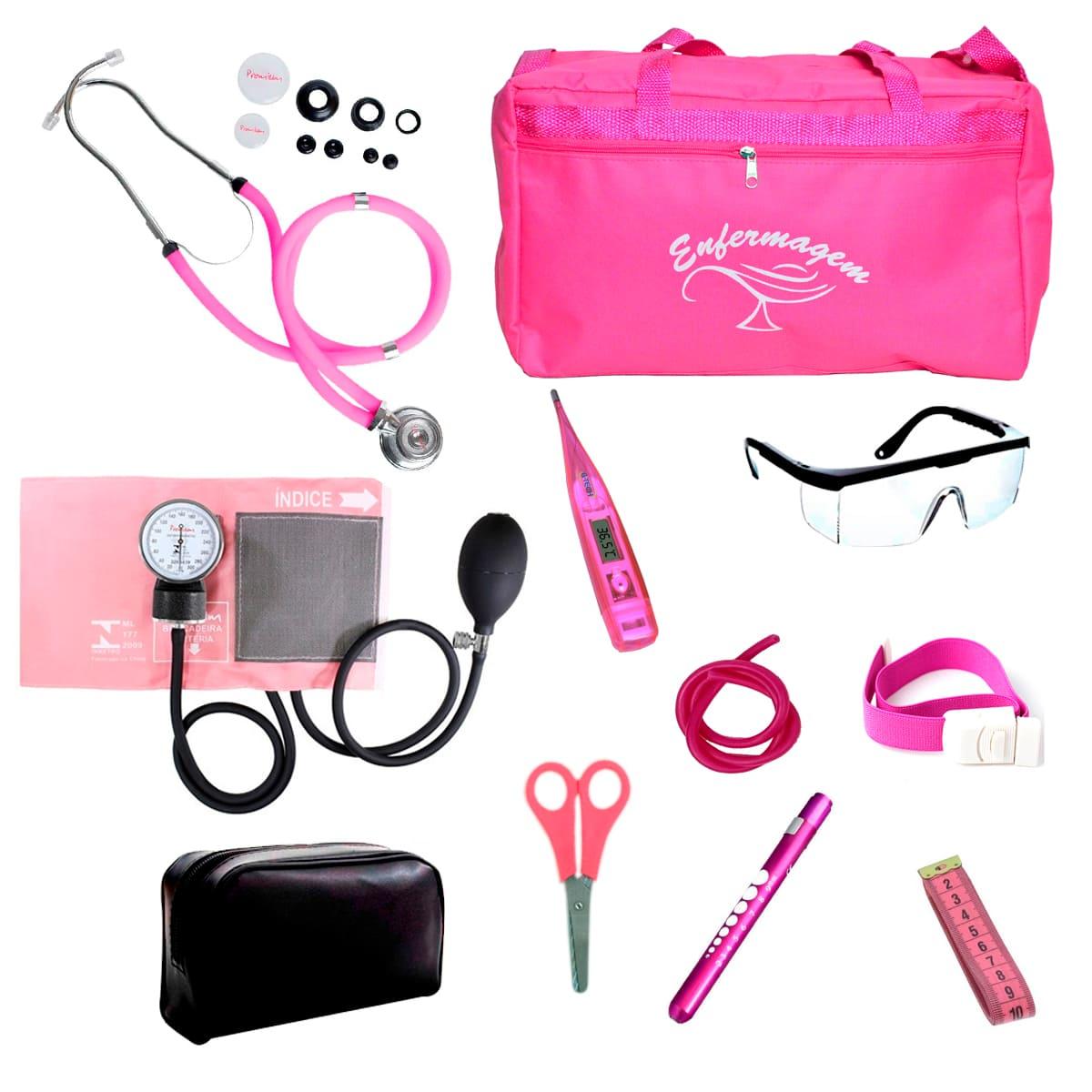 Kit Enfermagem mod.18 Aparelho de Pressão Premium Cor:Pink Bolsa:Tipo 2