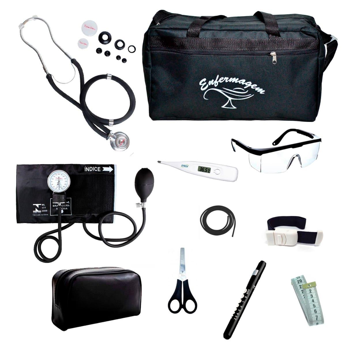 Kit Enfermagem mod.18 Aparelho de Pressão Premium Cor:Preto Bolsa:Tipo 2