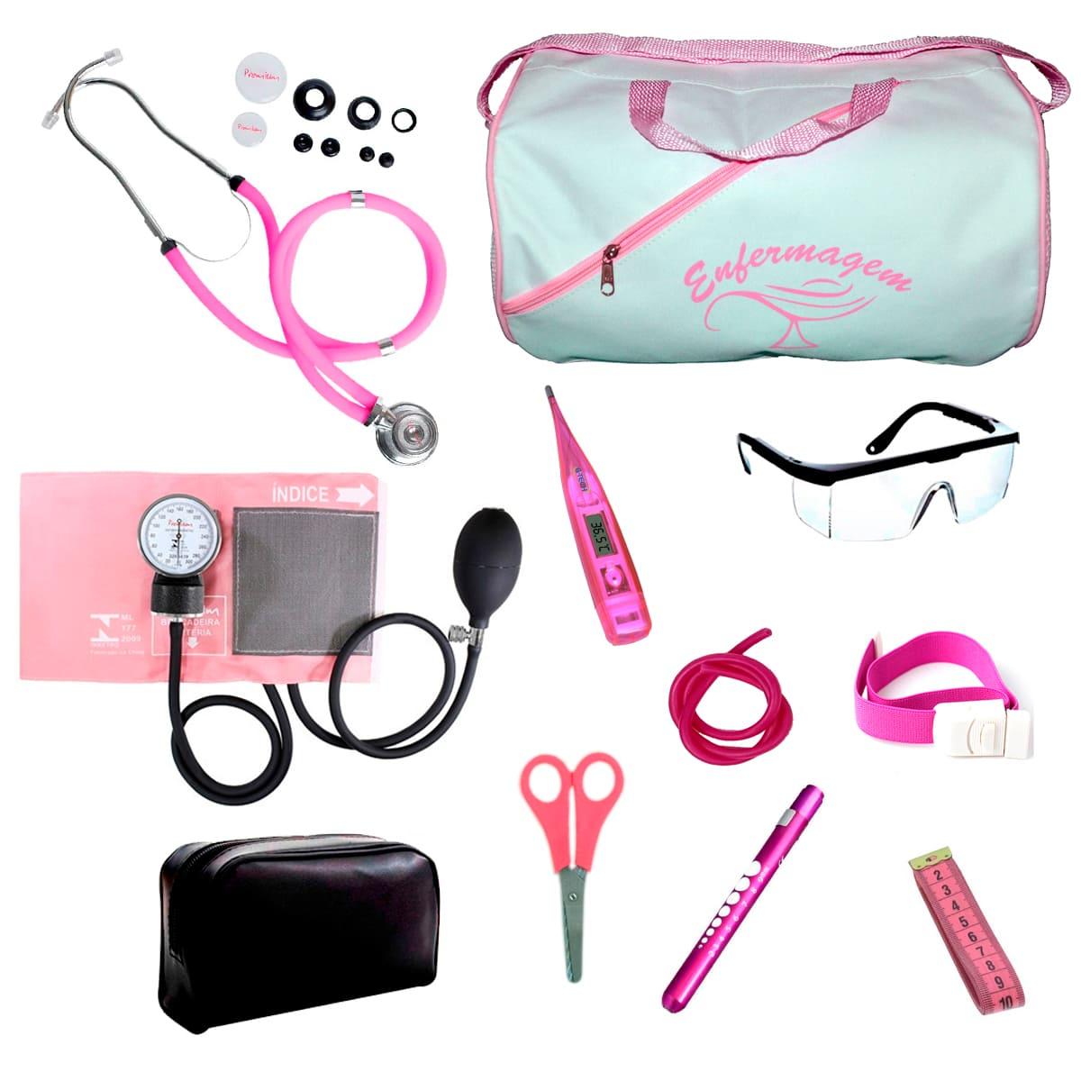 Kit Enfermagem mod.18 Aparelho de Pressão Premium Cor:Rosa
