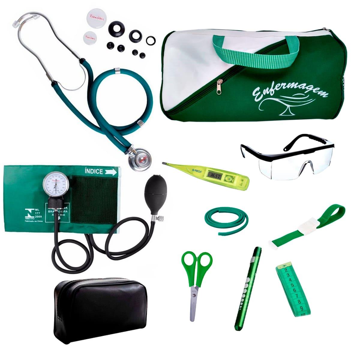 Kit Enfermagem mod.18 Aparelho de Pressão Premium Cor:Verde