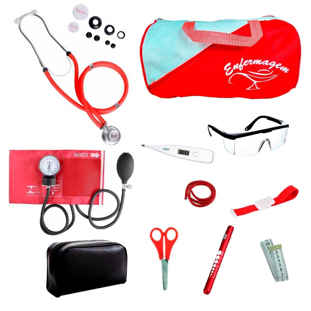 Kit Enfermagem mod.18 Aparelho de Pressão Premium Cor:Vermelho