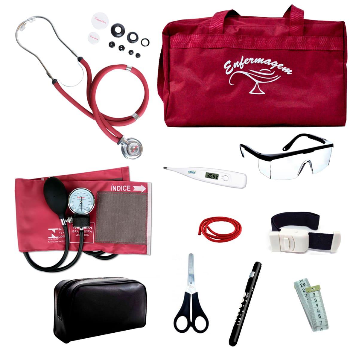 Kit Enfermagem mod.18 Aparelho de Pressão Premium Cor:Vinho Bolsa:Tipo 2