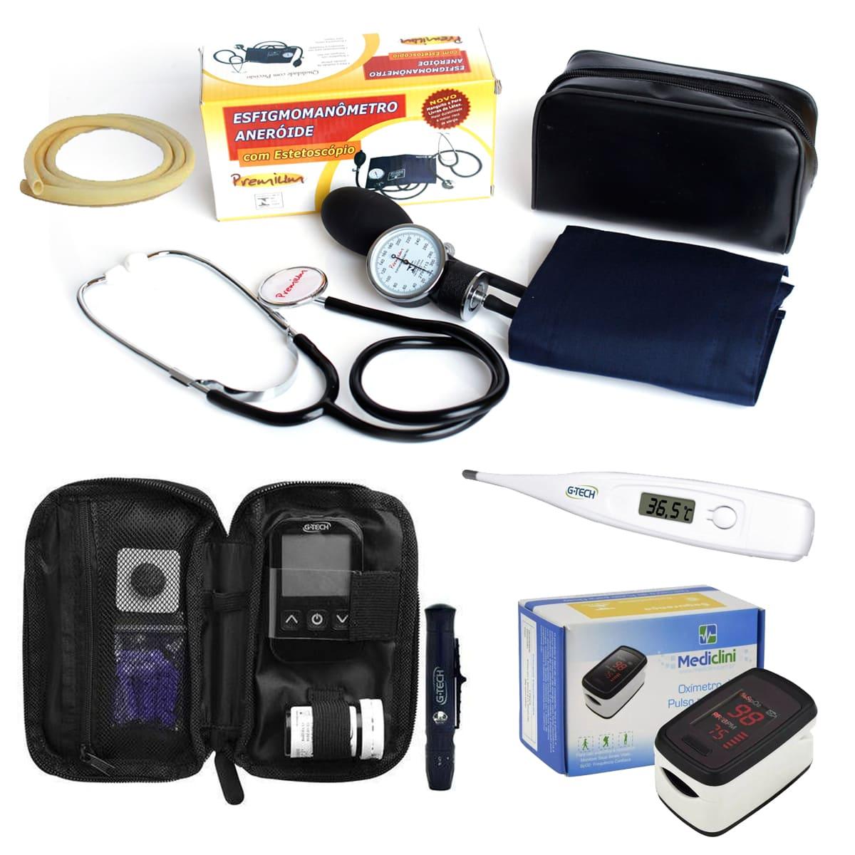 Kit Enfermagem Oxímetro Aparelho Glicose Completo
