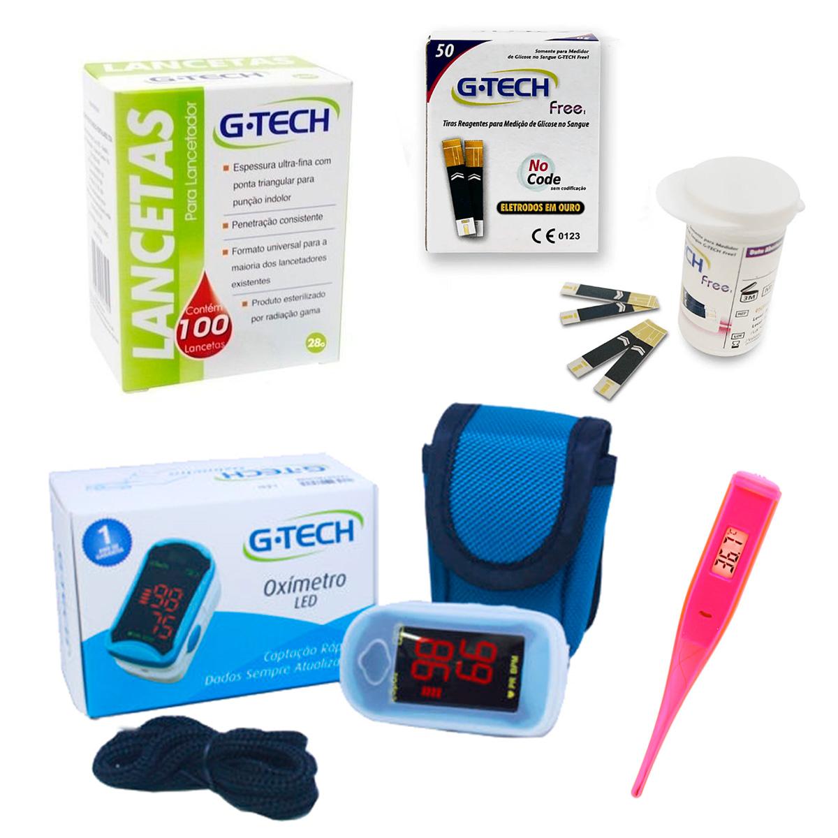 Kit G-tech tiras reagentes + lancetas + oxímetro  + mini termômetro