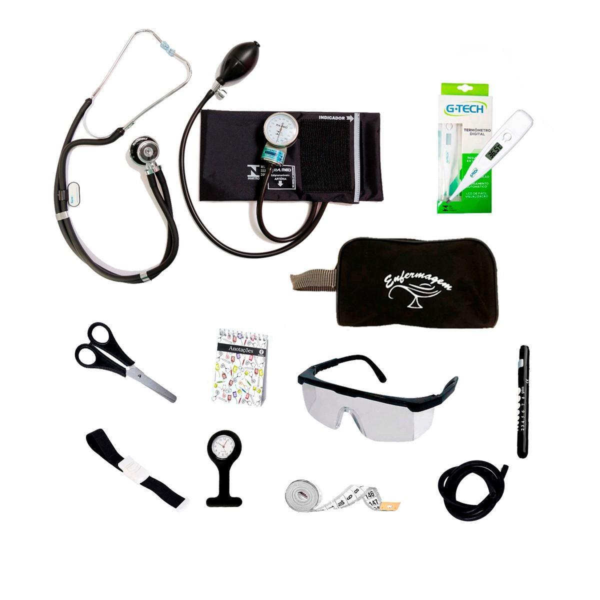 Kit Material De Bolso Para Enfermagem Completo com Esfigmomanômetro PA MED