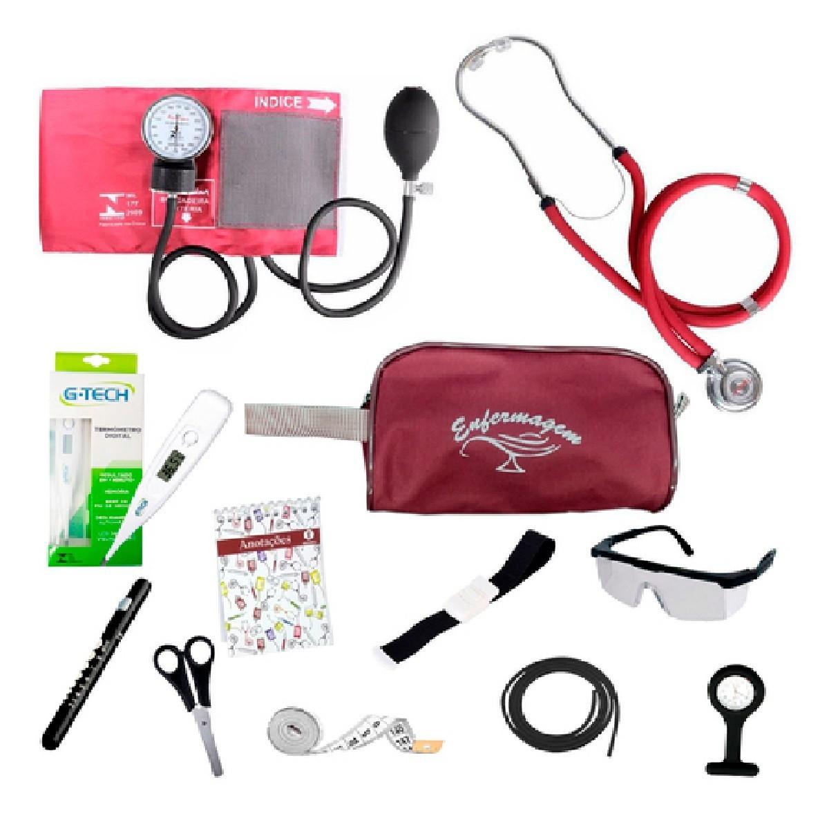 Kit Material De Bolso Para Enfermagem Completo com Esfigmomanômetro Premium