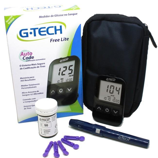 Kit medidor de glicose G-tech free lite c/ 10 tiras