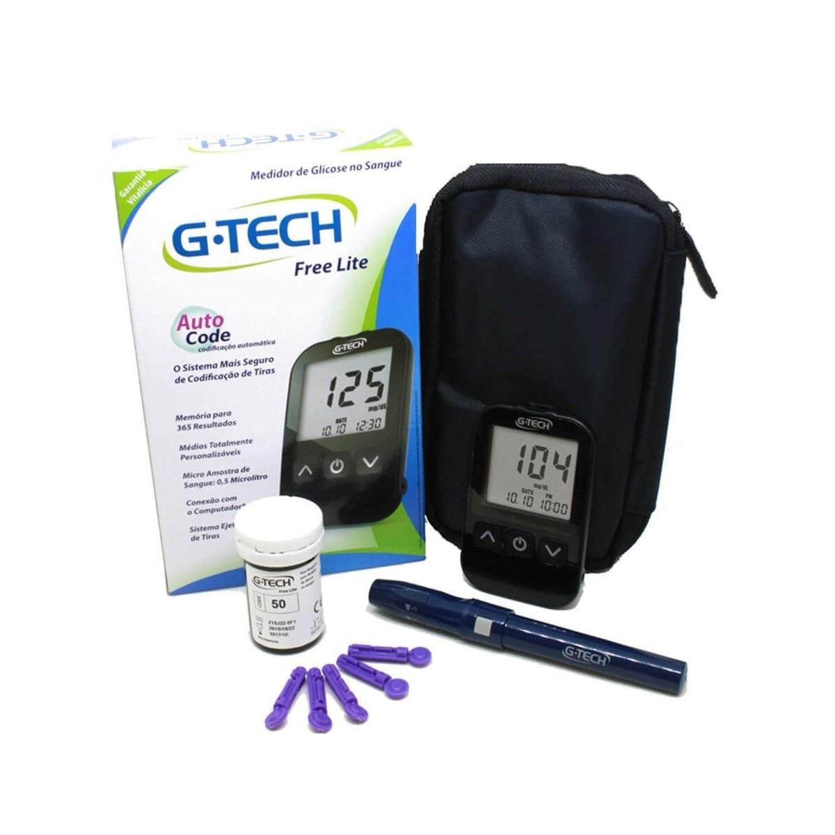 Kit Monitor Glicose Medir Glicemia 100 Tiras 100 Lanc G-tech