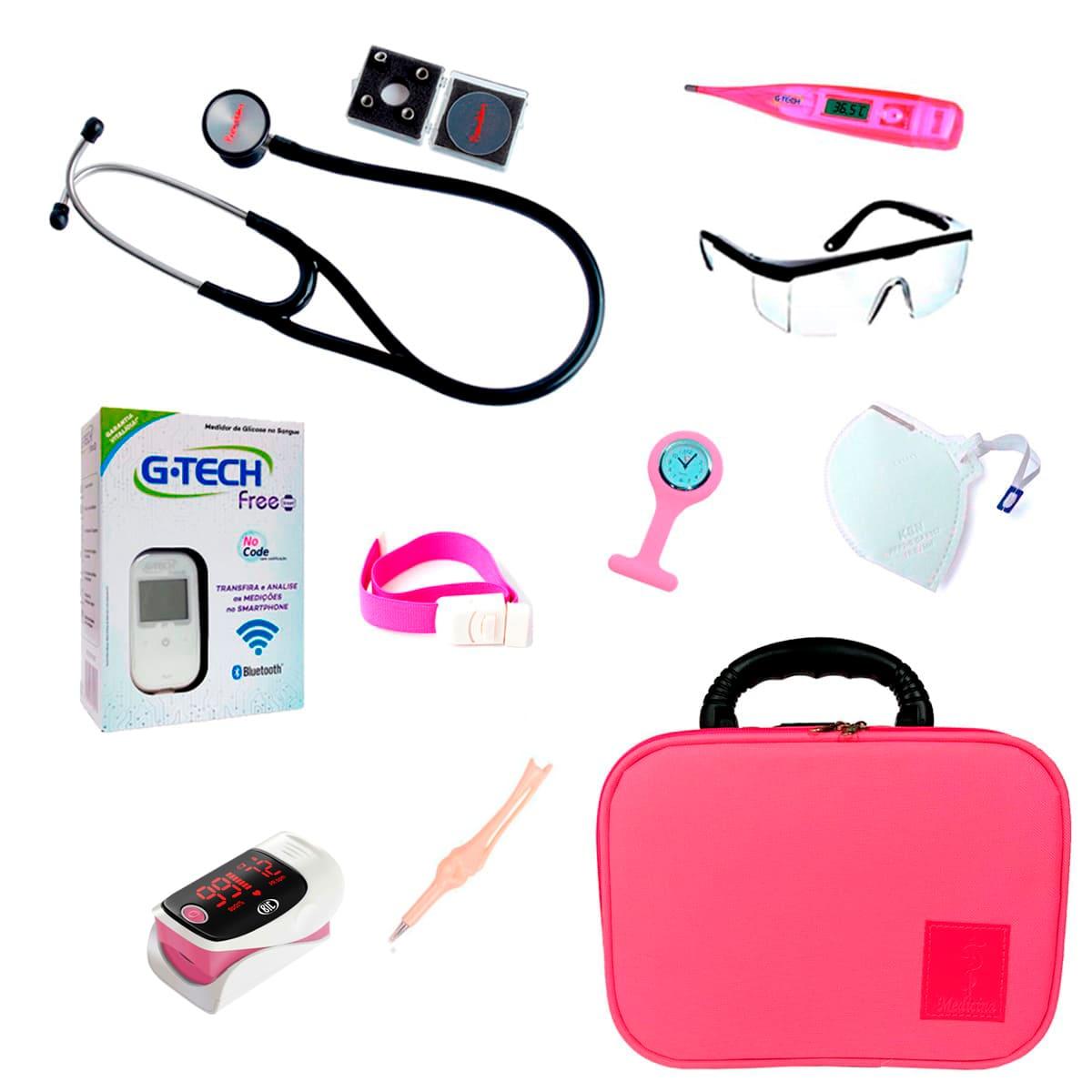 Kit Para Medicina Estetoscópio Cardiológico