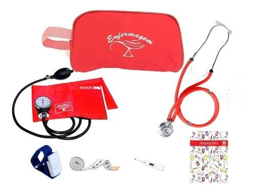 Kit Vermelho Para Enfermagem C/ Aparelho Pressão - Premium