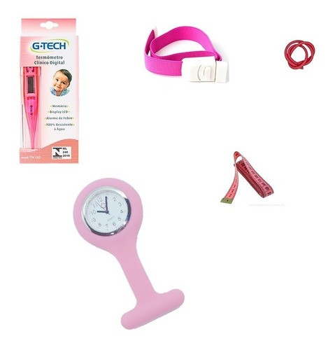 Termômetro, Garrote Em Látex E De Presilha, Fita E O Relógio