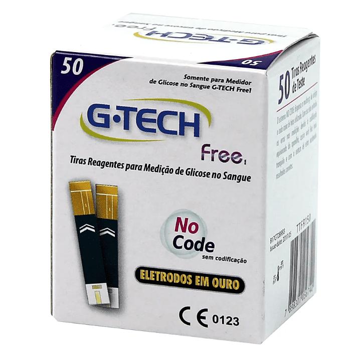 Tiras reagentes G-tech free 1 p/ teste de glicemia - 50 unidades