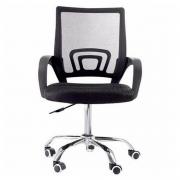 Cadeira Escritório Giratoria C/ Altura Ajustavel Base Cromada Xh-6010 Preta