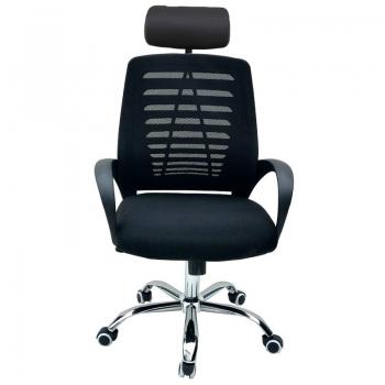 Cadeira Escritório Giratoria C/ Altura Ajustavel Base Cromada Xh-6044a Preta