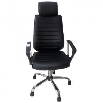 Cadeira Escritório Giratoria C/ Altura Ajustavel Pés Cromados Sh-8113h Preta