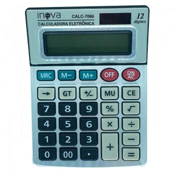 Calculadora De Mesa Inova 12 Digitos (Solar/Bateria) Calc-7066 - Prata