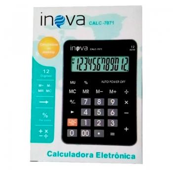 Calculadora De Mesa Inova 12 Digitos (Solar/Bateria) Calc-7071 - Preta