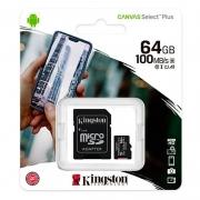 Cartão De Memória 64gb Micro Sd Card Kingston Sdcs2 Cl10