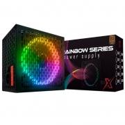 Fonte Real 600W BRX Rainbow Series RGB 80 Plus