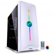 Gabinete Gamer PCYes Mid Tower Nova Plus Branco Com Lateral em acrílico e rgb - NOVBRRGB3FCA