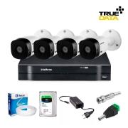Kit Vigilância Eletrônica C/ Dvr Digital Intelbras Mhdx 1104 04 Canais + Hd Seagate Skyhawk 1tb + 4 Câmeras Bullet Vhl