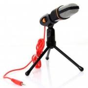 Microfone Para Computador Com Suporte Micro Condensador Lelong Le-908 P2 Preto
