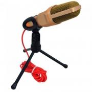Microfone Para Computador Com Suporte Micro Condesador Lelong Le-908 P2 Dourado