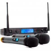 Microfone Profissional Sem Fio Briwax Uhf Digital Bp-6154 Duplo