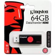 Pen Drive 64gb Kingston  Datatraveler 106 3.0 Preto -  Dt106/64gb