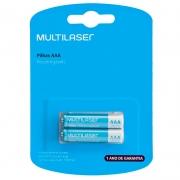 Pilha Recarregável AAA 1000mah Multilaser (Blister C/ 2 Pilhas) - CB051