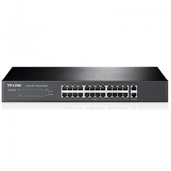 Switch 24 Portas 10/100 + 2 Portas Gigabit Tp-Link Tl-Sl1226 - Montavel Em Rack