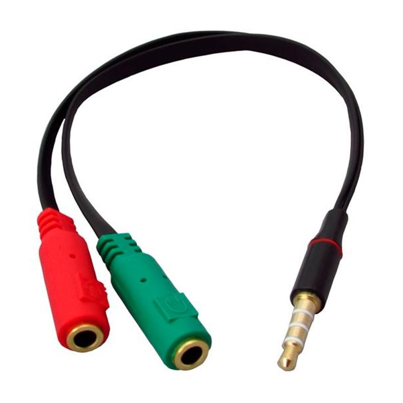 Cabo 2 P2 Fêmea para 1 P3 Macho P/Microfone E Fone Headset