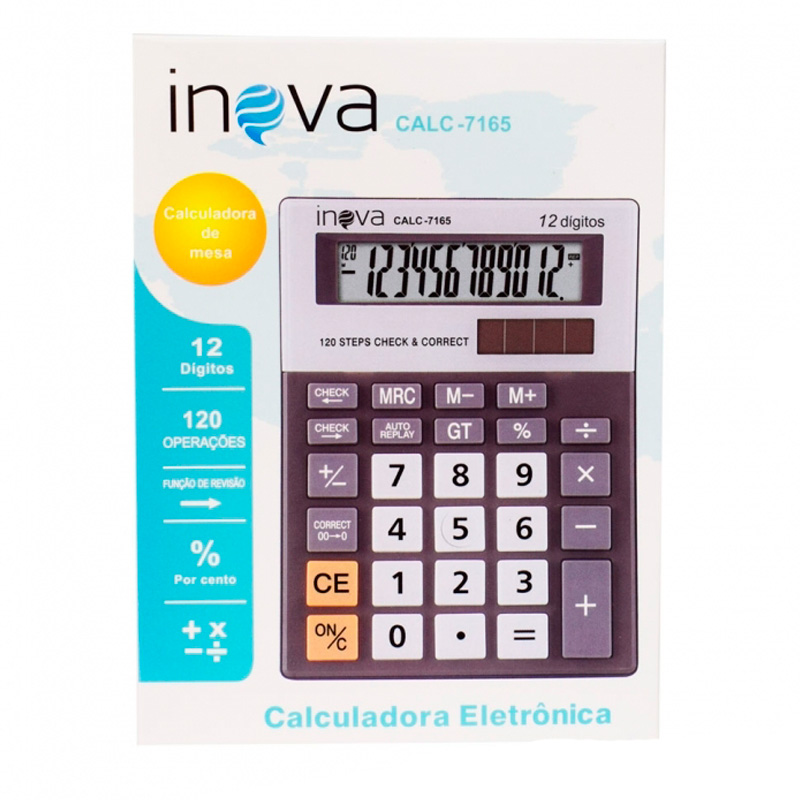 Calculadora De Mesa Inova 12 Digitos (Solar/Bateria) Calc-7165 - Prata