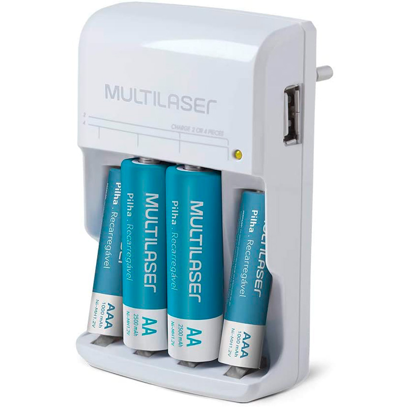 Carregador De Pilhas Multilaser C/2 Pilhas Aa + 2 Pilhas Aaa + Saída USB- Cb073