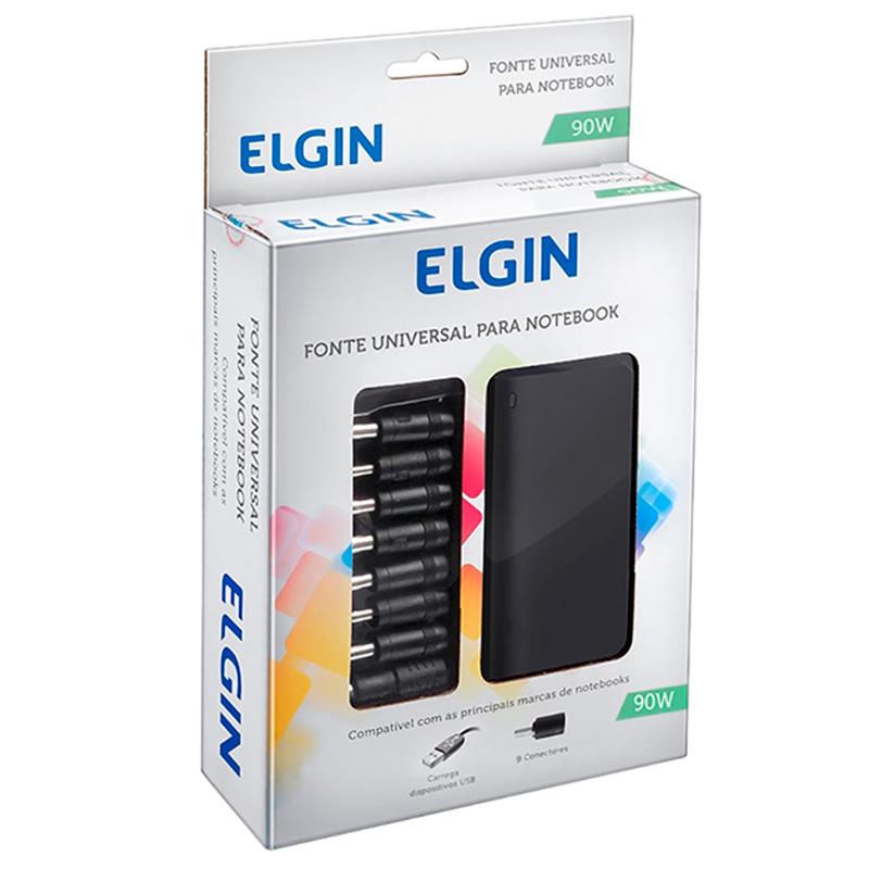 Fonte Para Notebook Universal 90w Elgin C/ Usb - 46RFTE90W000