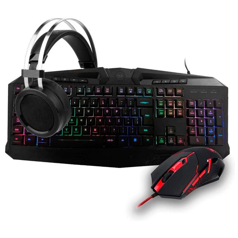 Kit Gamer Redragon S112 - Teclado Harpe RGB + Mouse Centrophorus + Headset Scylla + Mousepad Gamer