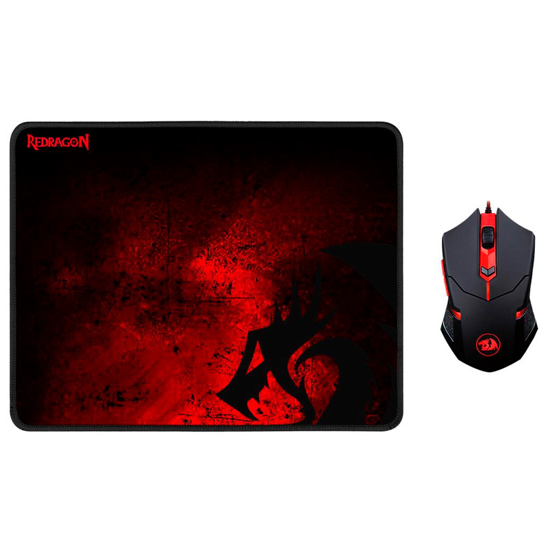Kit Mouse + Mousepad Gamer Redragon Centrophorus M601-BA
