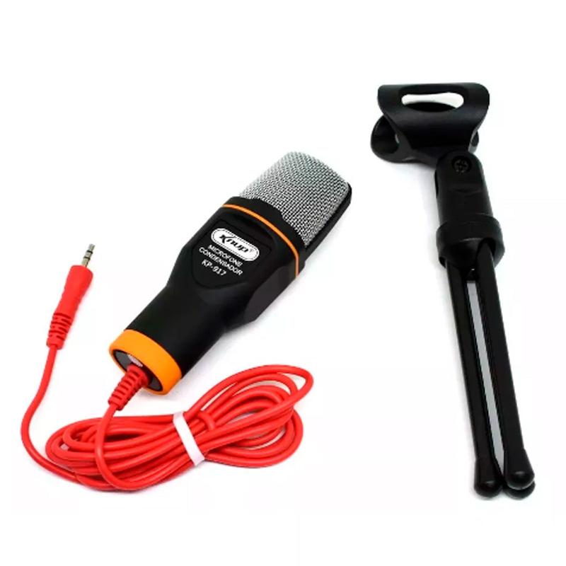 Microfone Para Computador Com Suporte Micro Condensador Knup Kp-917 P2