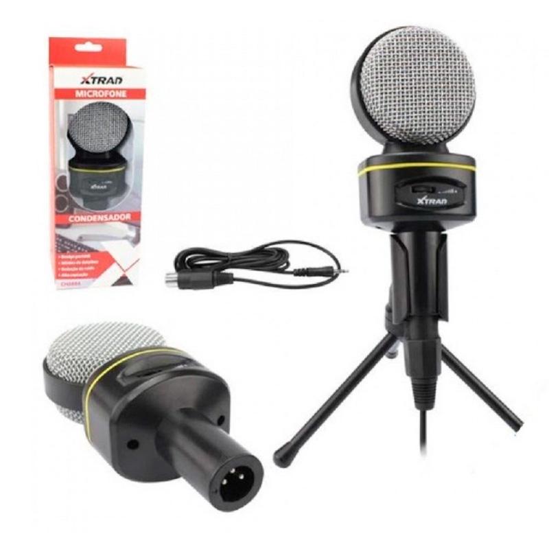 Microfone Para Computador Com Suporte Micro Condensador Xtrad Estudio