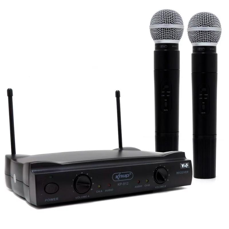 Microfone Profissional Sem Fio Knup Kp-912 Duplo