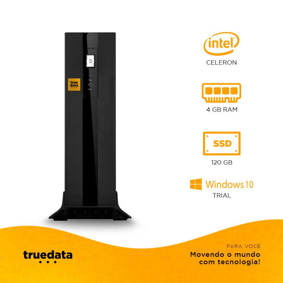 Mini Computador Desktop Truedata Intel Celeron 2.41ghz 4gb Ssd 120gb Win10 Trial