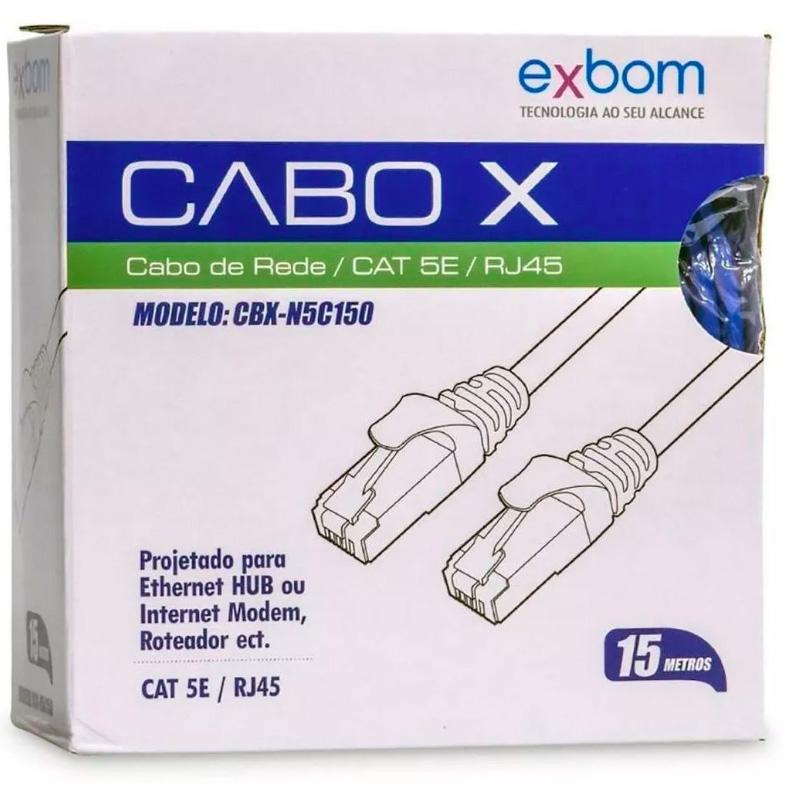 Patch Cable Cabo De Rede Pronto 15mt Cat5-e Cbx-N5c150- Azul